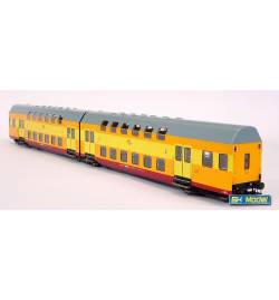 Dwuczłonowy zespół wagonów piętrowych, seria Bhp, żółto-pomarańczowo-czerwony (jajecznica), PKP, Opole - Rivarossi HRS4231