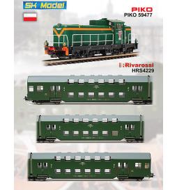 Zestaw: SP42-049 + dwa wagony 120A - PIKO 59266, 96640, 96641