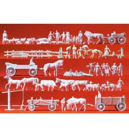 Wieśniacy, zwierzęta... 60 figur 1/87 - Praiser 16327