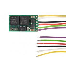 Miniaturowy dekoder DCC jazdy i oświeltenia D&H DH05C-0 tylko styki, bez przewodów