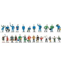 Roco 40000 - Figurki kolejarzy i podróżnych, do malowania, 24szt