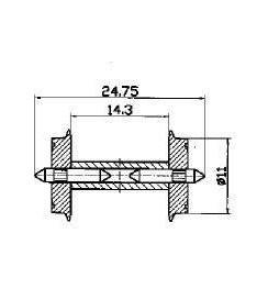 Roco 40182 - Zestaw kołowy jednostronnie izolowany, 11mm, 1szt