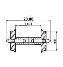 Roco 40193 - Zestawy kołowe dwustronnie izolowane z dzieloną osią, 11mm, 2szt