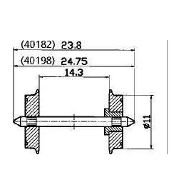 Roco 40198 - Zestawy kołowe jednostronnie izolowane, 11mm, 2szt