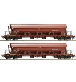 Roco 67179 - Zestaw 2 wagonów towarowych z rozsuwanym dachem DR