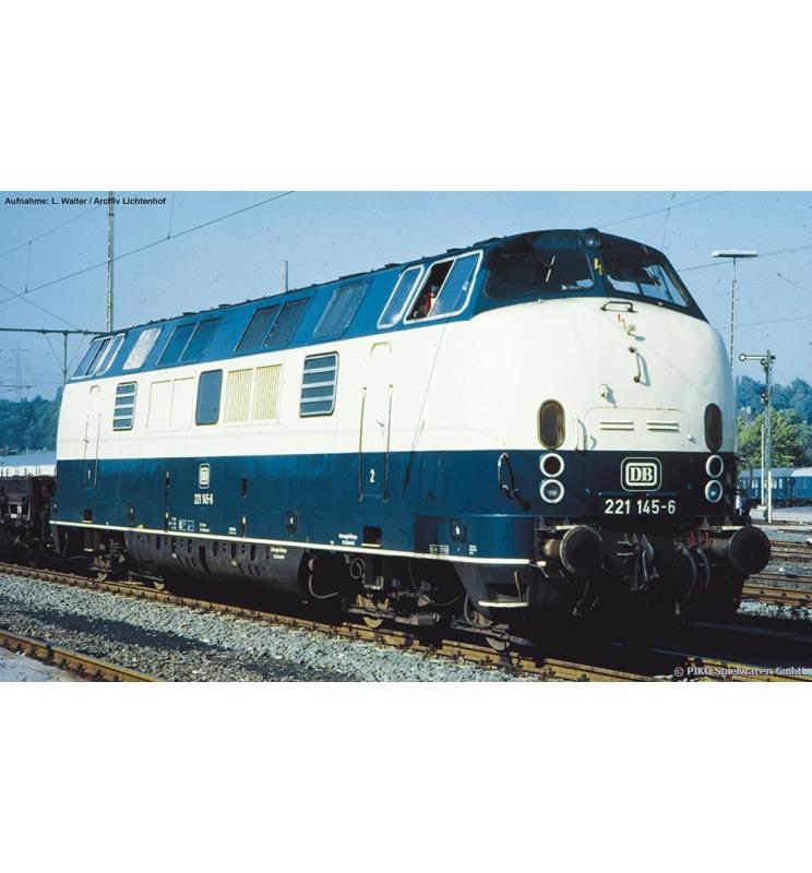 ~Spalinow. z dźwięk. BR 221 DB IV, blau-beige + lastg. Dec. - Piko 52605