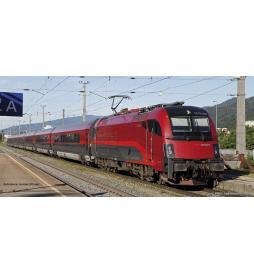~Zestaw Elektrow. Rh1216 + 3 Wagony ÖBB V - Piko 58132