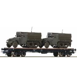 Roco 76863 - Wagon platforma USTC z dwoma pojazdami bojowymi