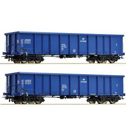 Roco 67193 - Zestaw 2 wagonów odkrytych / węglarek Eanos, PKP Cargo, ep. VI