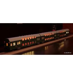 Oświetlenie DCC wagonów piętrowych 3-człony Bipa / Bhp Rivarossi, zimny biały - świetlówki