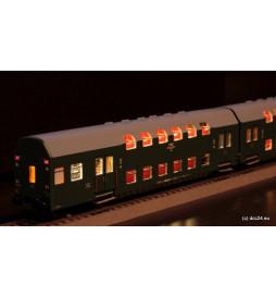Oświetlenie DCC wagonów piętrowych 3-człony Bipa / Bhp Rivarossi - standard