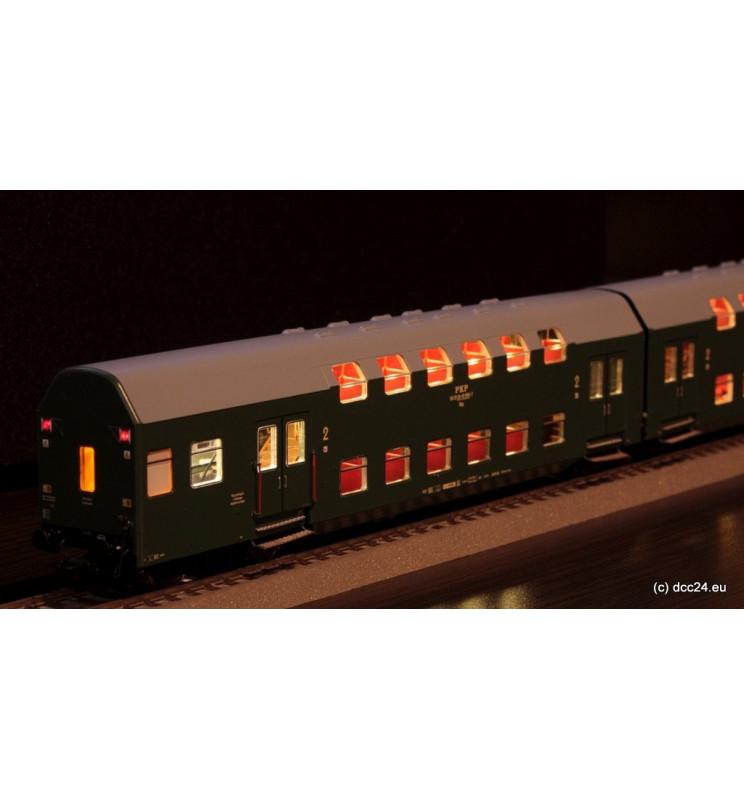 Oświetlenie DCC wagonów piętrowych 3-człony Bipa / Bhp Rivarossi, zimny biały - standard