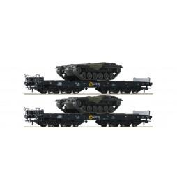 Roco 76161 - Zestaw 2 platform podczołgowych DB z ładunkiem podwozi czołgów M48