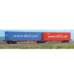ACME 40281 - Podwójna platforma kontenerowa Sggmrss 90 , Ep. V - VI + kontenery Ekol