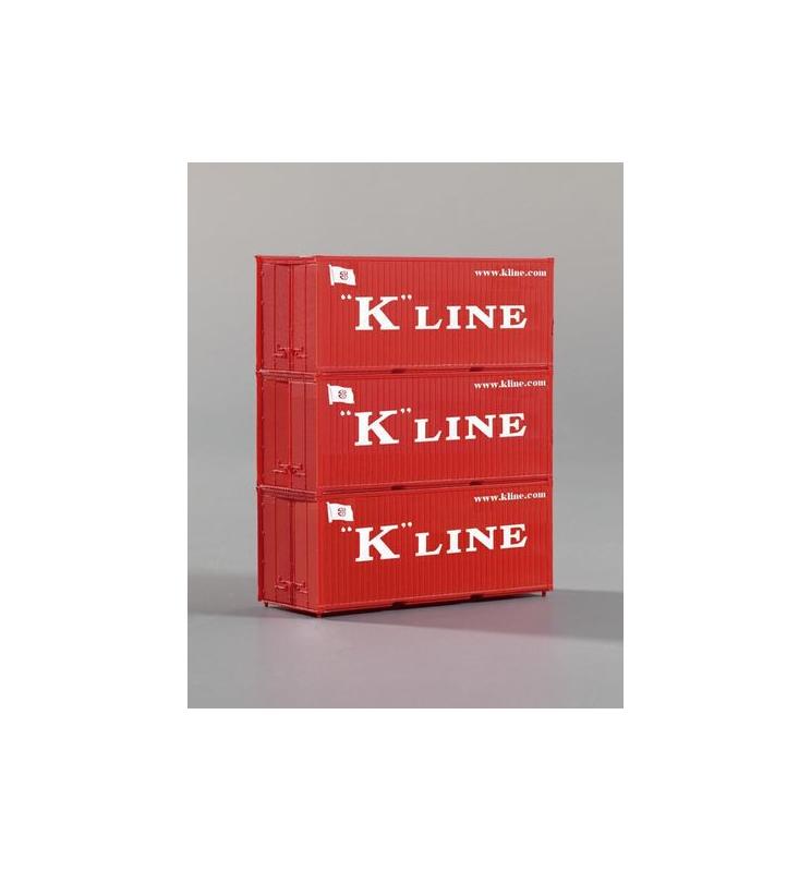 Kontenery 20' K-Line, Zestaw 3 szt. - Piko 56220