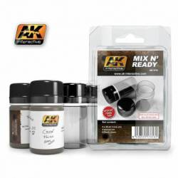 AK-616 - MIX N READY - Enamel (4 Empty 35ml jars WHITH LABELS) ( AK Interactive AK616 )