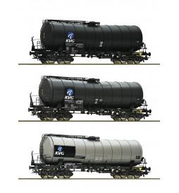 Roco 76156 - Zestaw 3 wagonów cystern KVG DB-AG