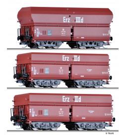 """Tillig 01766 - Zestaw wagonów towarowych """"Erzzug 3"""" DB, Ep. III, skala TT"""