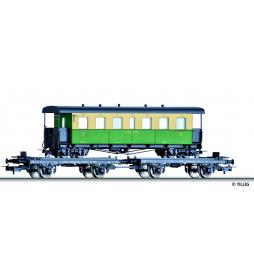 Tillig 70037 - Zestaw platform DB H0, z wagonem pasażerskim H0e NKB, Ep. III