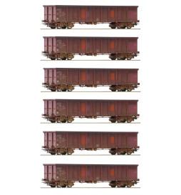 Roco 75975 - Zestaw 6 wagonów Eanos DB-AG fabrycznie patynowanych