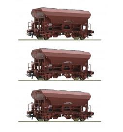 Roco 76171 - Zestaw 3 wagonów samowyładowczych Fcs DR