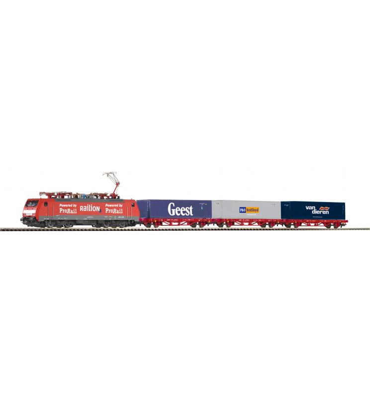 Zestaw Startowy Towarowy NS BR189 + 3 platformy z kontenerami - Piko 97908
