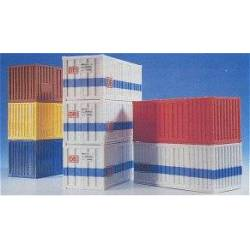 Kibri 10924 - H0 20 ft container, 8 pieces