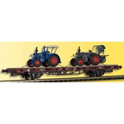 Kibri 26252 - H0 Low side car with 2 LANZ bulldogs,