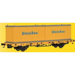Kibri 26268 - H0 Low side car with 2 containers GleisBau,