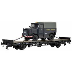 Kibri 26270 - H0 Low side car with KAELBLE tractor unit,