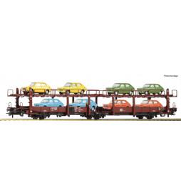 Roco 76834 - Dwupoziomowa platforma do przewozu aut DB, z ładunkiem 8 Fiatów 127