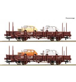 Roco 67086 - Zestaw 2 platform z samochodami Seat 127, Renfe