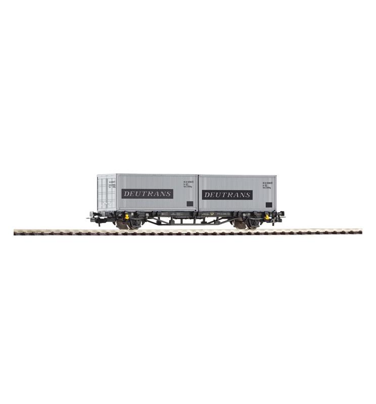 """Wagon Towarowy Platf.z kontenerowy Deutrans DR IV 2x20"""" - Piko 57747"""