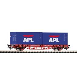 """Wagon Towarowy Platf.z kontenerowy 2x20"""" APL DB AG VI - Piko 57759"""