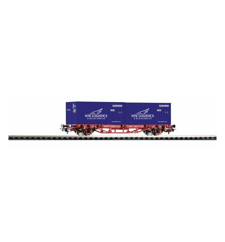 """Wagon Towarowy Platf.z kontenerowy NYK VI 2x20"""" - Piko 57772"""