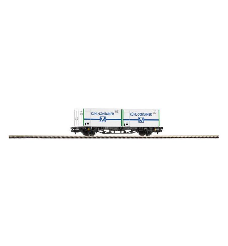 """Wagon Towarowy Platf.z kontenerowy Kühlcontainer DR IV 2x20"""" - Piko 57796"""