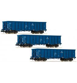 Fleischmann 828342 - Zestaw w wagonów odkrytych Eaos, PKP Cargo, skala N