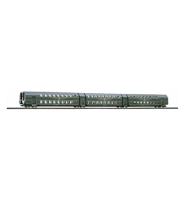 Wagon piętrowy DGB26 3 części zielony DR IV - Piko 53181