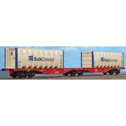 "ACME AC40355 - Articulated container wagon Type Sggrss 80', of DB, loaded with 2 containers ""BULK CONCEPT"""