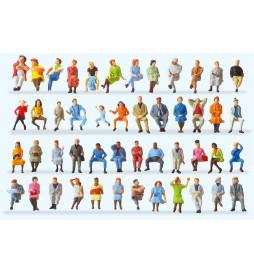 Podróżni siedzący, 48 figur 1/87 - Preiser 14418