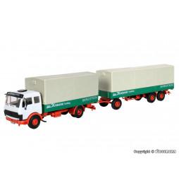 Kibri 14640 - H0 Ciężarówka MB skrzyniowy z plandeką i przyczepą