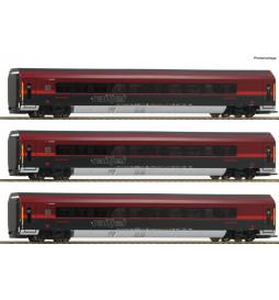 Roco 64192 - Zestaw wagonów Railjet ÖBB (3 elementy), DCC z dekoderem oświetlenia