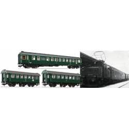 Fleischmann 566484 - Zestaw 3 wagonów pociągu Passenger train Murnau-Oberammergau, DB