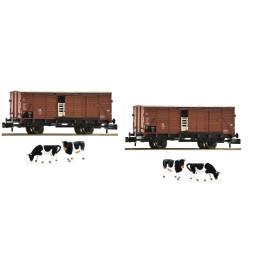 Fleischmann 881804 - Zestaw 2 wagonów krytych G10 do przewozu zwierząt, DB