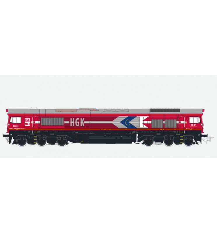 Lokomotywa spalinowa, Class 66, HGK DE 61, Ep V, czerwona, LokSound, Generator dymu, Skala H0, DC/AC - ESU 31271