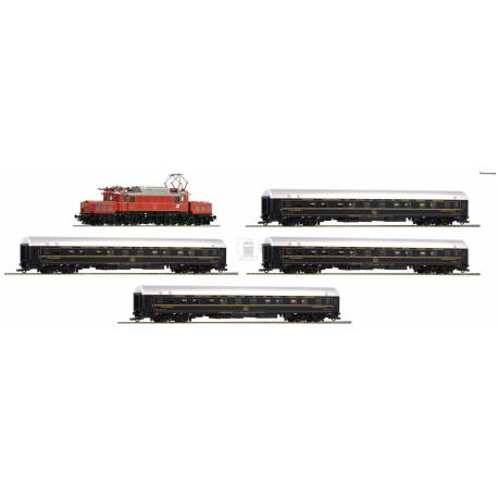 Roco 61470 - 5 piece set: Electric locomotive class 1020 and 4 sleeping cars