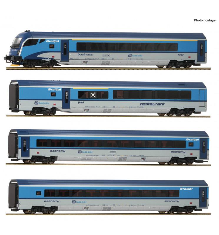 Roco 74143 - Zestaw 4 wagonów Railjet CD z wagonem sterowniczym oraz oświetleniem DCC