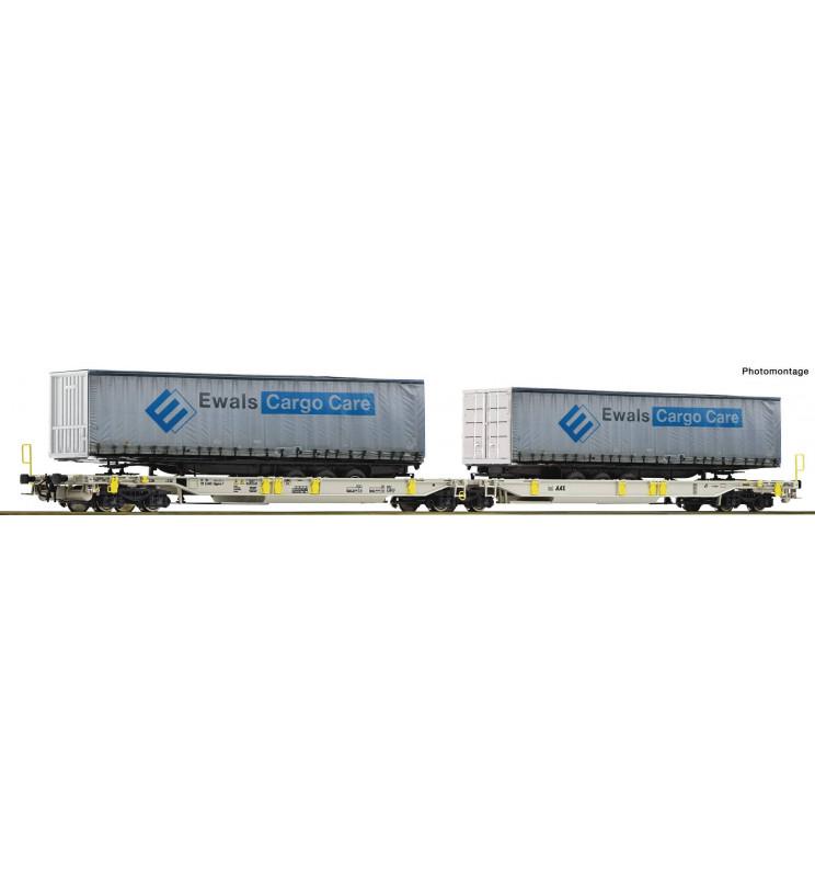 Roco 76437 - Wagon kieszeniowy AAE z 2 naczepami Ewals