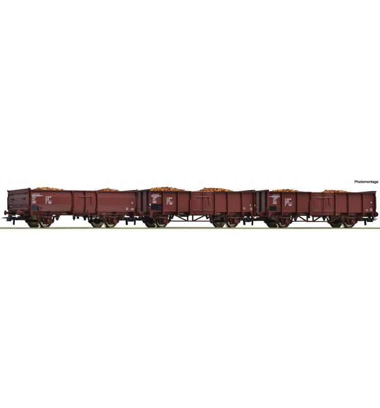 Roco 76081 - Zestaw 3 wagonów odkrytych DR z ładunkiem