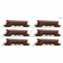 Roco 77915 - 12 piece display: Self-unloading hopper wagons DR